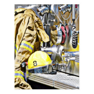 Intense - Fireman Gear and Fire Truck Postcard