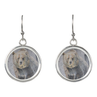 Intense Grizzly Bear Drawing Earrings