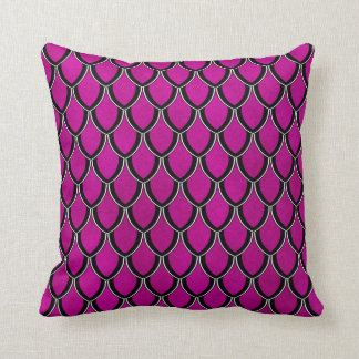 Intense Pink Dragon Scale Watercolor Wash Pillow Cushion