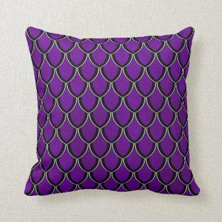 Intense Purple Dragon Scale Watercolor Wash Pillow Cushions