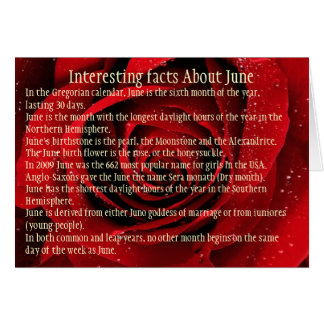 Interesting facts About June, Cards