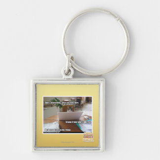 Interesting sites Silver-Colored square key ring