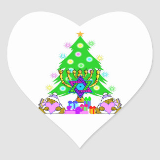 Interfaith Christmas Hanukkah Holiday Fun Heart Sticker