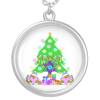 Interfaith Holiday Fun Round Pendant Necklace