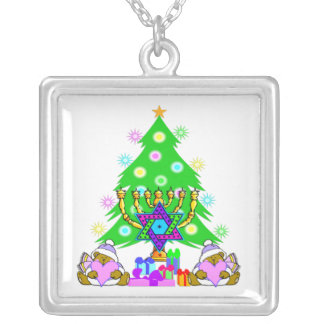 Interfaith Holiday Fun Square Pendant Necklace