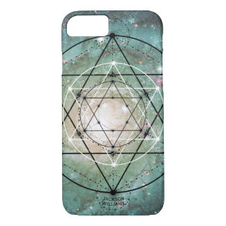 Intergalactic Geometric Pattern Monogrammed Name iPhone 7 Case