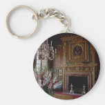Interior, Chateau Chambord, Loire Valley, France Basic Round Button Key Ring