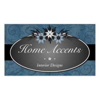 Interior Decorating Blue Floral Business Card