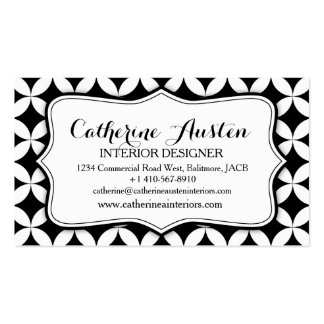 Interior design business circular black white mono pack of standard business cards