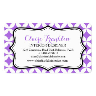Interior design business circular purple pattern pack of standard business cards