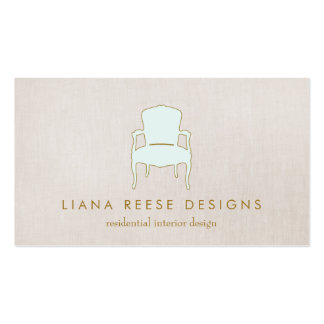 Interior Design  French Chair Logo FAUX Linen Double-Sided Standard Business Cards (Pack Of 100)