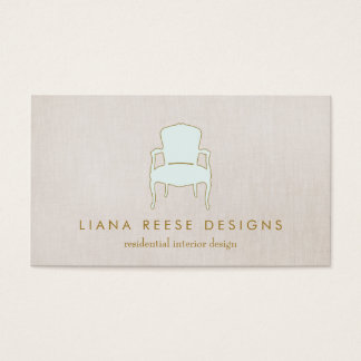 Interior Design  French Chair Logo FAUX Linen Business Card
