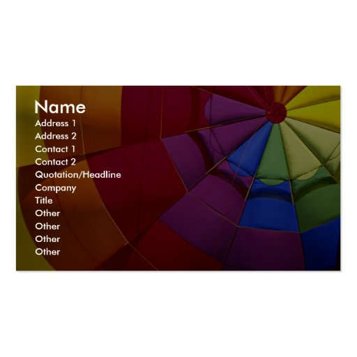 Interior design of inflated hot air balloon business cards