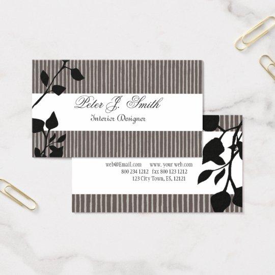 Interior Design Striped Pattern Fashion Leaf Business Card