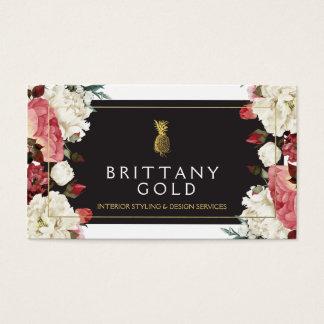 Interior Designer Business Card - Chic Gold Floral