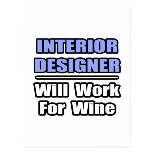 Interior Designer...Will Work For Wine Postcard