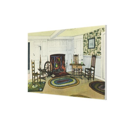 Interior Living Room View of the John Alden Stretched Canvas Print