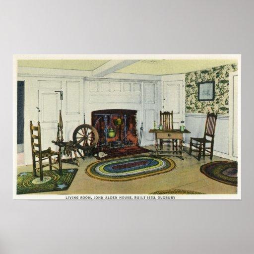 Interior Living Room View of the John Alden Print