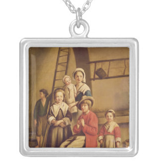 Interior of a Barn Silver Plated Necklace