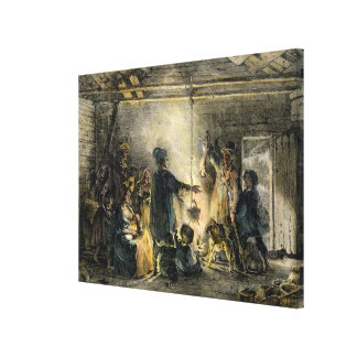 Interior of a Coal-Miner's Hut Canvas Print