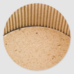 Interior of a corrugated cardboard container round sticker