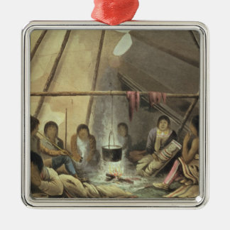 Interior of a Cree Indian Tent, March 25th 1820, f Christmas Ornament