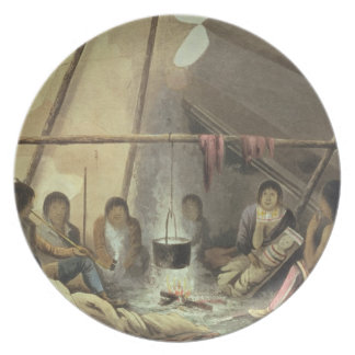 Interior of a Cree Indian Tent, March 25th 1820, f Dinner Plate