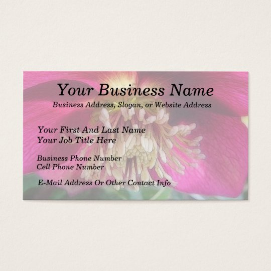 Interior Of A Delicate Spring Hellebore Flower Business Card