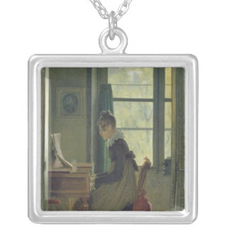 Interior of a Dining Room, detail of a woman Silver Plated Necklace