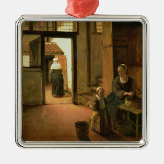 Interior of a Dutch House (oil on panel) Silver-Colored Square Decoration