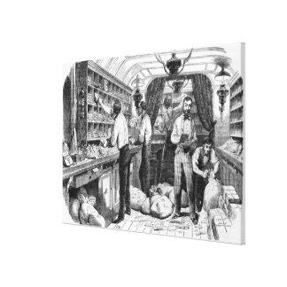 Interior of a French railway postal wagon Canvas Print