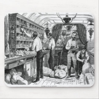 Interior of a French railway postal wagon Mouse Mat