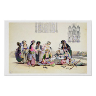 Interior of a Harem, in Cairo (colour litho) Poster