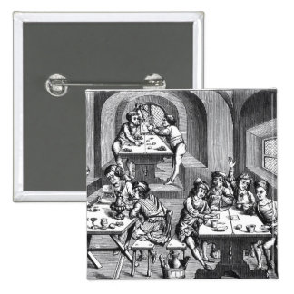 Interior of a hostelry, after a woodcut in a folio 15 cm square badge