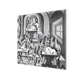 Interior of a hostelry, after a woodcut in a folio canvas print
