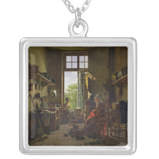 Interior of a Kitchen, 1815 Silver Plated Necklace