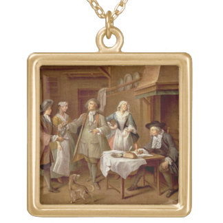 Interior of a Kitchen with Figures Tasting Wine Gold Plated Necklace