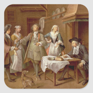 Interior of a Kitchen with Figures Tasting Wine Square Sticker
