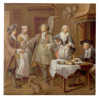 Interior of a Kitchen with Figures Tasting Wine Tile