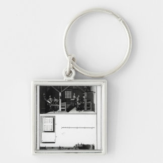 Interior of a Printing Works and Plan Silver-Colored Square Key Ring