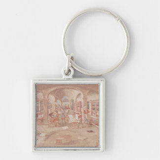 Interior of a Printing Works in the 16th Century Silver-Colored Square Key Ring
