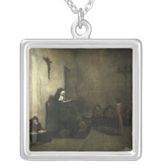 Interior of a School for Orphaned Girls, 1850 Silver Plated Necklace