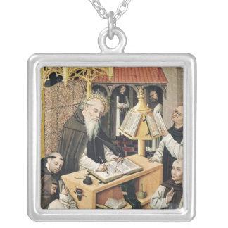 Interior of a Scriptorium, School of Segovia Silver Plated Necklace