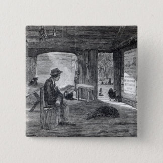 Interior of a settler's hut in Australia 15 Cm Square Badge