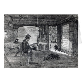 Interior of a settler's hut in Australia Greeting Card