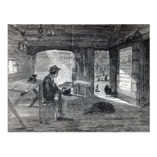 Interior of a settler's hut in Australia Postcard