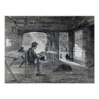 Interior of a settler's hut in Australia Poster