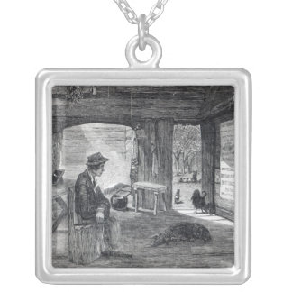 Interior of a settler's hut in Australia Square Pendant Necklace