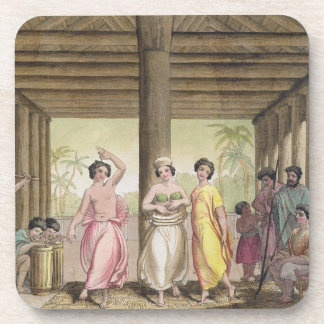 Interior of a Tahitian house with dancing girls, i Coaster