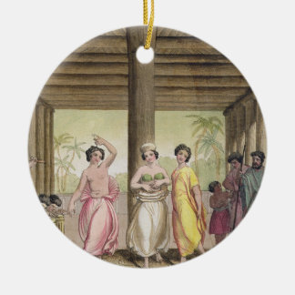 Interior of a Tahitian house with dancing girls, i Round Ceramic Decoration